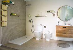 Propuesta de baño para habitación en suit. En nuestro piso piloto (show room). Combinaciones de color, azulejos que ofrecen continuidad y amplios espacios. Alcove, Bathtub, Vanity, Bathroom, Templates, Shower Bathroom, Color Coordination, Chalets, Tiles