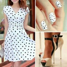 Poua black and white dress...and nails!  nails -  fashion -  dress