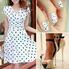 Poua black and white dress...and nails!  nails -  fashion -  dress