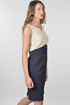 Passion robe - Antonelle Réf   17RO5942 Robe en ottoman coton viscose  PASSION. Dotée d une encolure rond avec un cran V sans manches , la robe  bicolore ... b2fa20a0d106