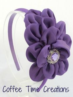 Kenley Headband Purple Satin Ruffle Flower Headband Toddler Teen Adult Hair Accessories. $10.00, via Etsy.