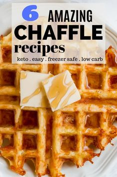 Chaffle Recipes - Six amazing keto chaffle waffle recipes. Original cheese waffle (the chaffle) peanut butter chaffle pizza chaffle chocolate chaffle cheddar bay chaffle paffle. Low Carb Waffles, Cheese Waffles, Keto Pancakes, Keto Waffle, Waffle Recipes, Egg Waffle Recipe, Waffle Iron, Pizza Recipes, Low Carb Recipes