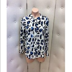 """Cream with Blue & Black Animal Print Long Sleeve This item is pre-owned.Has been worn previously.See pictures for details   Brand: Lauren Gold Size: M Material: 100% Silk Measurements: Shoulder to Hem: 28"""" Bust: 36"""" Sleeve Length: 24"""" Lauren gold Tops"""