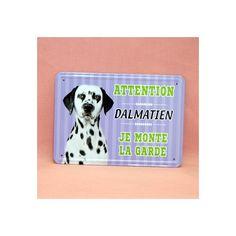 Plaque de race en métal, dalmatien.  Dimension: 15cm x 21cm