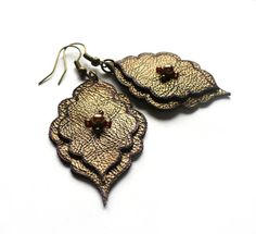 Boho leather earrings in bronze arabesque shape by MoonsafariBeads, $31.00