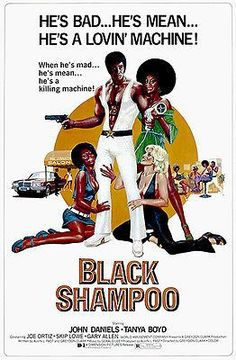 Black Shampoo is a 1976 blaxploitation film starring John Daniels as a hair dresses who's a love machine and a killing machine too. blow dryer in one hand and gun in the other, lol 1976 Movies, Old Movies, Vintage Movies, Great Movies, Vintage Humor, Poster Home, Movie Poster Art, Cinema Posters, Film Posters