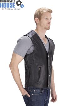 Viking Cycle Gun Pocket Motorcycle Leather Vest - available only at http://www.motorcyclehouse.com/vikingcycle-gun-pocket-motorcycle-leather-vest-for-men.htm - uploaded by #MotorcycleHouse