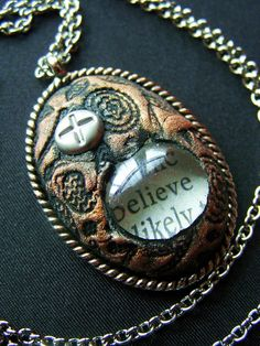 Inspirational Word Oval Clay Pendant Necklace by avadeldesigns, $28.00