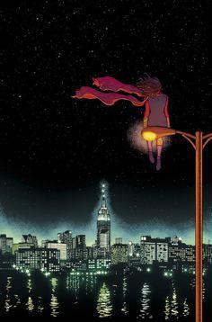 Cover to Ms. Marvel #5. Art by Jamie McKelvie #jamiemckelvie. Colours by Matt Wilson.