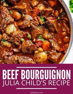 Easy Beef Bourguignon, Bourguignon Recipe, Julia Childs Beef Bourguignon, Beef Casserole Recipes, Beef Recipes, Cooking Recipes, Slow Cooker Beef, Dinner Recipes For Kids, Beef Dishes