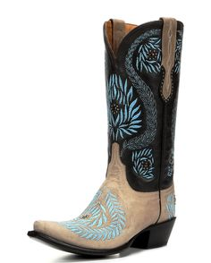 Lucchese Women's Embroidered Laurel Leaves Boot - Bone