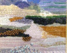 Three Little Landscapes, fiber art, hand embroidery, wall decor, needlepoint OOAK