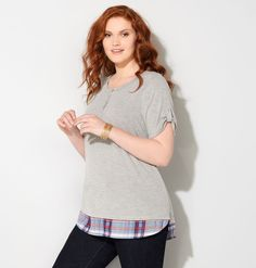 671eb7a68ad Shop trendy new plus size tees for fall like the Plaid 2fer Henley in sizes…