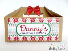 PERSONALISED CHRISTMAS EVE BOX - SNOWFLAKE- BROWN KRAFT PATTERN  PARTY GIFT BAG