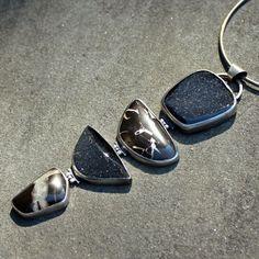 Black Drusy Necklace Black Druzy Brown Stone by lsueszabo on Etsy, $950.00