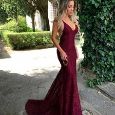 V Neck Open Back Lace Mermaid Prom Dresses