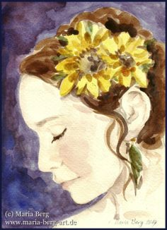 http://www.maria-berg-art.de/blog/february-2015/ #beauty #art #watercolor #feminity #portrait #sunflower #grace #beautiful