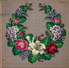Garland of roses, lilies, forget-me-not and wistaria embroidery design, 19th century