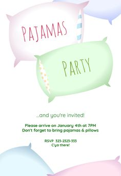 """Sleepover Party"" printable invitation. Customize, add text and photos. Print for free!"