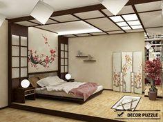 Japanese Bedroom Decor, Japan Bedroom, Relaxing Master Bedroom, Rustic Master Bedroom, One Bedroom Apartment, Home Bedroom, Bedroom Furniture, Furniture Design, Bedroom Ceiling