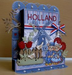 Wow!! Die cuts galore on this dimensional stand-up/box? card from the Netherlands...