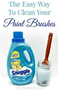 How To Clean Paint Brushes ~ Tip of the Day. To clean a paint brush with dried paint or any dirty paint brush for that matter, simply add two tablespoons of fabric softener to one cup of warm water and let soak overnight! It will soften the paint, and rinse off easily! by Susanna Shap