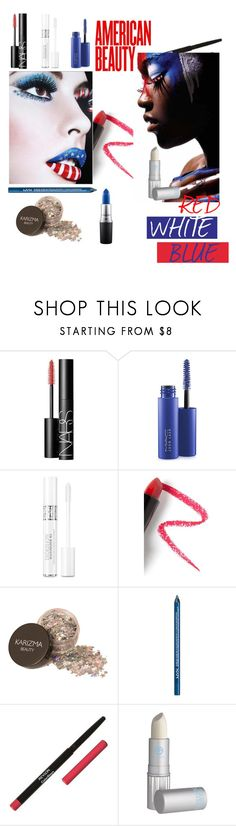 """Red, White & Blue Beauty"" by aharcaki ❤ liked on Polyvore featuring beauty, NARS Cosmetics, MAC Cosmetics, Christian Dior, Lapcos, NYX, Revlon and Lipstick Queen"