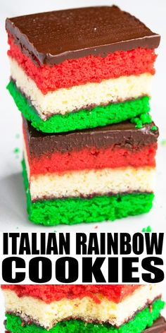 ITALIAN RAINBOW COOKIES RECIPE- Classic Italian Venetian cookies, homemade with simple ingredients. Colorful layers of almond cookies with raspberry jam and topped with chocolate. Also known as Italian rainbow cookie cake or Italian flag cake. From CakeWhiz.com Cookie Recipes From Scratch, Best Cookie Recipes, Best Dessert Recipes, Easy Desserts, Sweet Recipes, Sweet Desserts, Yummy Recipes, Italian Rainbow Cookies, Rainbow Food