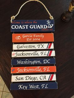 Home is where the Coast Guard sends us duty station unit sign with cutter stripes and anchor BayouDoll Creations on Facebook