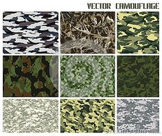 Winter and summer vector camouflage set. forest and urban. with a minimum number of layers Camouflage, Layers, Urban, Number, Winter, Decor, Layering, Winter Time, Decoration