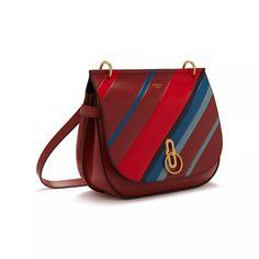 Shop the Striped Amberley Satchel on Mulberry.com. Inspired by British countryside pursuits, the Amberley borrows its shape and detailing from traditional equestrian styling. The satchel features our Rider's Lock closure, inspired by the iconic Postman's Lock. This new season version is crafted from Smooth Calf Leather, finished with striking multi-colour stripes.