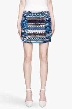 Matthew Williamson Blue And Gold Embroidered Taj Tapestry Mini Skirt for women | SSENSE