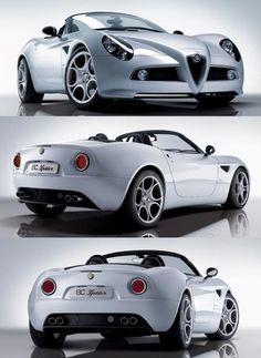 Visit The MACHINE Shop Café... ❤ The Best of Alfa Roméo... ❤ (White Alfa Roméo 8C Spyder)