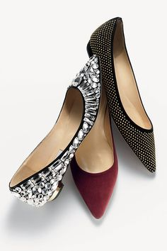 Stunners! Pointy Toe Flats with Jewels
