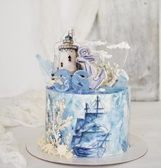 Beautiful Cake Designs, Gorgeous Cakes, Amazing Cakes, Nautical Cake, Nautical Wedding, Sailor Cake, Marine Cake, Artist Cake, Ocean Cakes