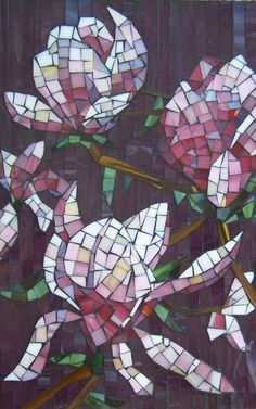 Magnolia Flowers Mosaic Artwork FREE SHIPPING by NYMosaicArt, $350.00