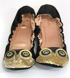 6091a83e8e6 Kate Spade Cuckoo OWL Black Satin Sequined Slipper Flats Size 7M