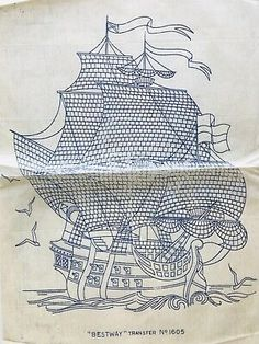 HUGE VTG sailing ship iron on embroidery transfer (ckp) Iron On Embroidery, Embroidery Transfers, Vintage Embroidery, Embroidery Designs, 80s Mercedes, Iron On Transfer, Crossstitch, Punch, Sailing