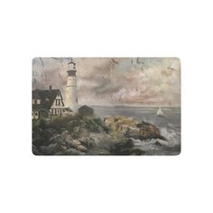 InterestPrint Beach Theme Anti-slip Door Mat Home Decor, New England Lighthouse Waves Vintage Art Indoor Outdoor Entrance Doormat Rubber Backing 23.6 X 15.7 Inches >>> Click image to review more details. (This is an affiliate link and I receive a commission for the sales)