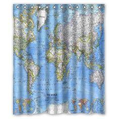 "World Map Background Waterproof Shower Curtain/Bath Curtain--Size: 60"" x 72"" Shower Curtain http://www.amazon.com/dp/B00QRQL3HK/ref=cm_sw_r_pi_dp_F6Uiwb0KSAK4Q"
