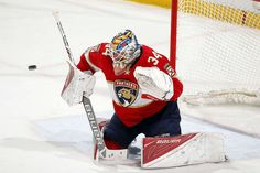SUNRISE, FL - JANUARY 26: Goaltender James Reimer #34 of the Florida Panthers had 31 saves in their win against the Tampa Bay Lightning at the BB&T Center on January 26, 2017 in Sunrise, Florida. (Photo by Eliot J. Schechter/NHLI via Getty Images)