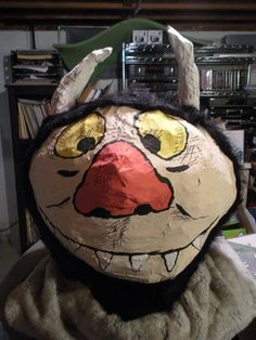 "Picture of Moishe/Carol ""Where the Wild Things Are"" paper mache mask"