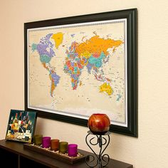 World Travel Map with Pins Tan Oceans and by PushPinTravelMaps, $99.99