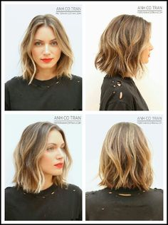 Love the cut and color of this shoulder-length bob.