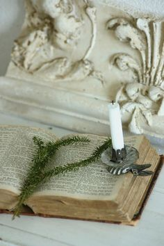 inspirationlane-com: (via White Vintage Christmas inspiration / Old book and old tree candle holder) Noel Christmas, White Christmas, Vintage Christmas, Victorian Christmas, Christmas Vignette, Christmas Candle, Oldest Bible, Holy Night, I Love Books