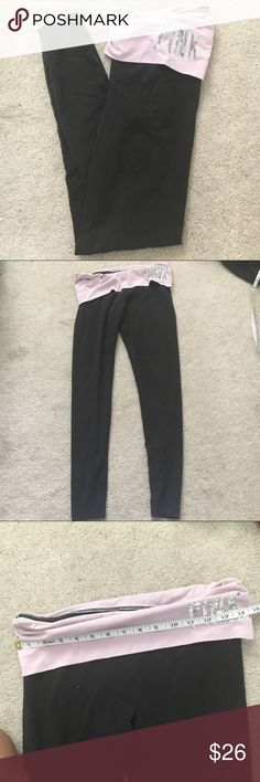 PINK Victoria's Secret black purple yoga leggings The size label is faded so the size is a guess but PLEASE USE MEASUREMENTS TO COMPARE! 30 inch stretchy waist and 27.5 inch inseam. No trades. PINK Victoria's Secret Pants Leggings