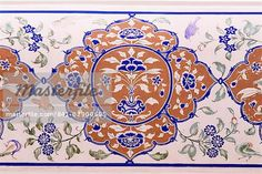Detail of the exquisite wall painting in the Sultan Mahal (hall), Samode Palace, Samode, Rajasthan state, India, Asia