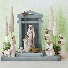 Nativity - Behold the awe and wonder of the Christmas Story. Shop at the official Willow Tree website, home to Susan Lordi's line of carved hand-painted figurative sculpture. Willow Tree Nativity, Willow Tree Angels, Willow Tree Figurines, Angel Sculpture, Sculpture Art, Sculptures, Hand Carved, Hand Painted, Cypress Trees