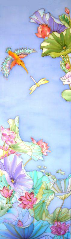 Tableau en peinture sur soie