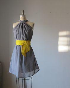 Dress Romantic Bridesmaids  Wedding  Dreamy  Grey  Rosette Soft Heavenly /  gray  mustard  sash. $89.99, via Etsy.